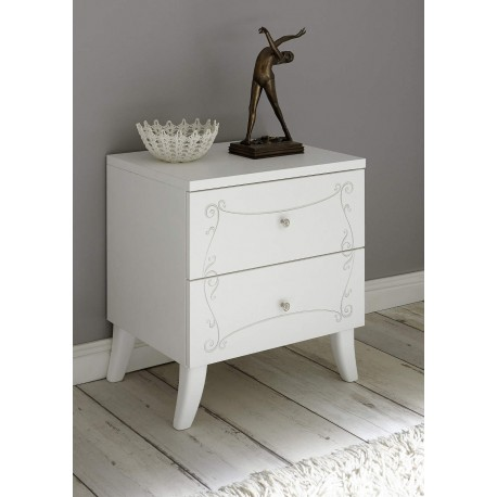 Włoska elegancka szafka nocna SOLER kolor biały