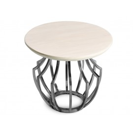 Okrągły stolik z jasnym marmurowym blatem Ø55 CJ956