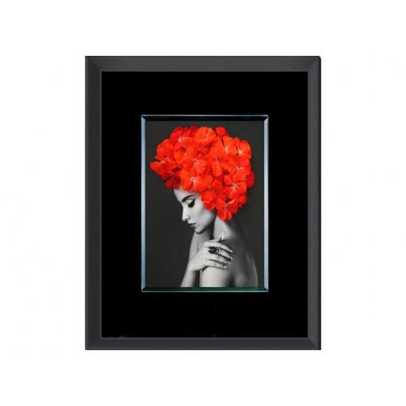 Obraz kobieta i kwiaty 80 x 60 cm S73141