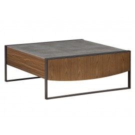 Drewniany stolik kawowy z szufladą cementowy blat 100 x 40 cm TA841