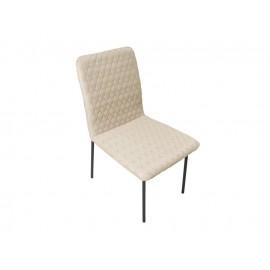 Tapicerowane beżowe pikowane krzesło do salonu wysokość 90 cm N6278