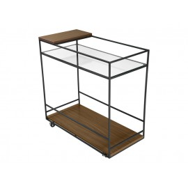 Mobilny barek drewno szkło 80 x 40 x 80 cm N6411