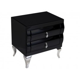 Lustrzana szafka nocna w czarnym odcieniu 55 x 42 x 57 cm 16JS73