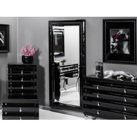 Lustro w giętej lustrzanej czarnej ramie 80 x 180 cm 15JZ191