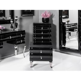 Czarna wysoka komódka glamour 55 x 42 x 100 cm 16JS54C