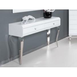 Toaletka glamour białe szkło 120 x 41 x 78 cm JSF478
