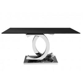 Stylowy stół czarny szklany blat 160 x 90 x 75 cm CT2020
