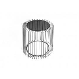 Elegancki Druciany stolik kawowy szklany grafitowy blat Ø50 x 48 cm TOYJ19-529