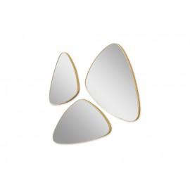 Komplet 3 owalnych luster w złotej ramie 16F-573
