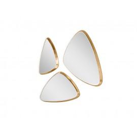 Komplet 3 trójkątnych luster w złotej oprawie 15F-543