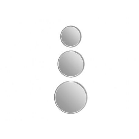 Komplet 3 okrągłych luster w srebrnej oprawie 12F-361