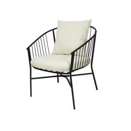 Stalowy zaokrąglony czarny fotel jasne poduszki TOYJ19-538