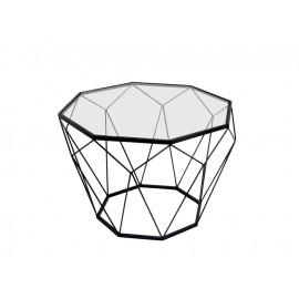 Geometryczny czarny metalowy stolik szklany blat Ø 55 x 38 cm TOYJ19-654