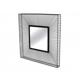 Lustro w ramie ze stalowych czarnych drucików 90 x 90 x 9,5 cm TOYJ19-214