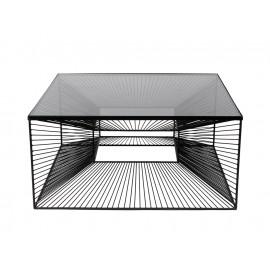 Nowoczesny metalowy stolik 3D z grafitową szybą 80 x 80 x 38 cm TOYJ19-210