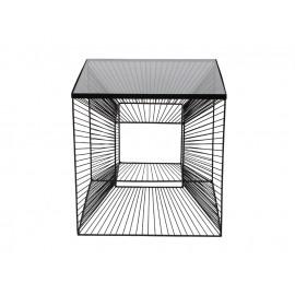 Nowoczesny metalowy stolik 3D z grafitową szybą 45 x 45 cm TOYJ19-211