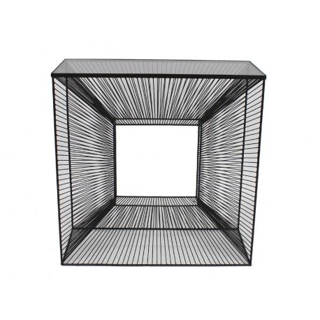 Nowoczesna metalowa konsola 3D z grafitową szybą 80 x 35 x 81 cm TOYJ19-213