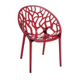 Krzesło CRYSTAL red z poliwęglanu SIESTA