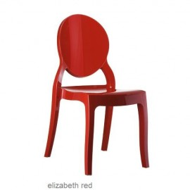 Elizabeth krzesło czerwone połysk z poliwęglanu