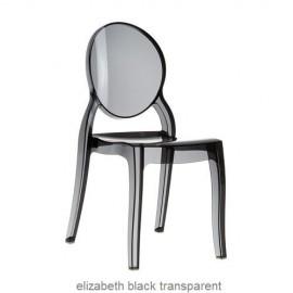 Elizabeth krzesło czarne przeźroczyste z poliwęglanu