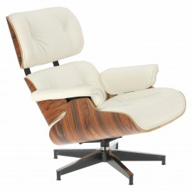 Fotel Vip z podnóżkiem biały/rosewood/ srebrna baza