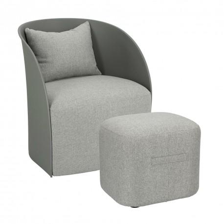 Fotel z podnóżkiem Puri szary