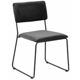 ACTONA krzesło CORNELIA antracytowe - welur metal