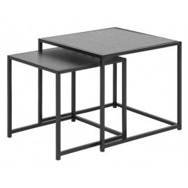 ACTONA zestaw stolików SEAFORD czarne - MDF metal