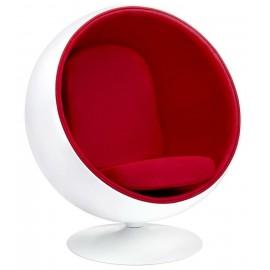 Fotel BALL biało-czerwony - włókno szklane wełna