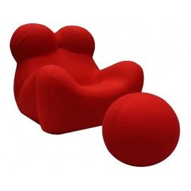 Fotel BIG MAMA z podnóżkiem - krwista czerwień wełna