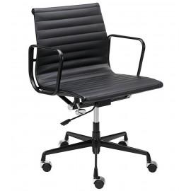 Fotel biurowy BODY PRESTIGE PLUS czarny - skóra naturalna aluminium