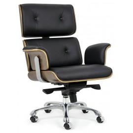 Fotel biurowy LOUNGE BUSINESS czarny - sklejka orzech skóra naturalna stal polerowana