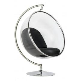 Fotel BUBBLE STAND poduszka czarna - podstawa chrom korpus akryl poduszka ekoskóra