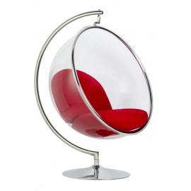 Fotel BUBBLE STAND poduszka czerwona - podstawa chrom korpus akryl poduszka wełna