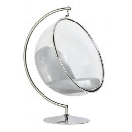 Fotel BUBBLE STAND poduszka srebrna - podstawa chrom korpus akryl poduszka ekoskóra