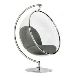 Fotel BUBBLE STAND poduszka szara - podstawa chrom korpus akryl poduszka wełna