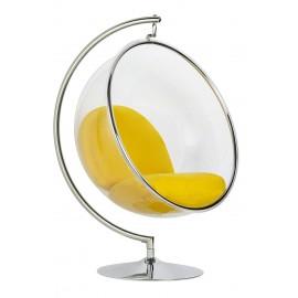 Fotel BUBBLE STAND poduszka żółta - podstawa chrom korpus akryl poduszka wełna