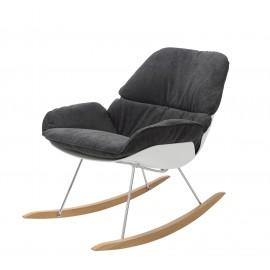 Fotel bujany NINO ciemno szary - tkanina ciemno szara płozy bukowe
