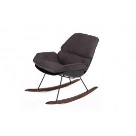 Fotel bujany NINO czarny - tkanina ciemnoszara płozy drewniane