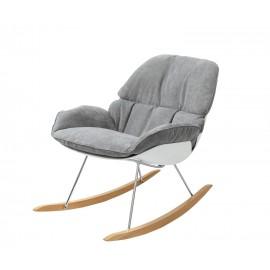 Fotel bujany NINO jasny szary - tkanina płozy bukowe