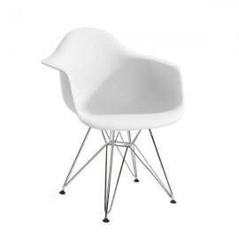 Fotel DAR SILVER biały.01 - polipropylen podstawa chromowana