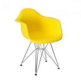 Fotel DAR SILVER słoneczny żółty.09 - polipropylen podstawa chromowana