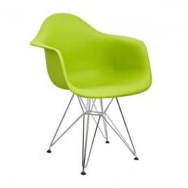 Fotel DAR SILVER soczysta zieleń.13 - polipropylen podstawa chromowana