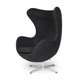 Fotel EGG CLASSIC ciemny szary.5 - wełna podstawa aluminiowa