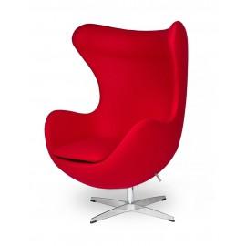 Fotel EGG CLASSIC czerwony.17 - wełna podstawa aluminiowa