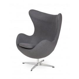 Fotel EGG CLASSIC grafitowy szary.4 - wełna podstawa aluminiowa