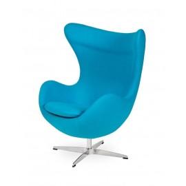 Fotel EGG CLASSIC jasny turkus.43 - wełna podstawa aluminiowa