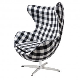 Fotel EGG CLASSIC kratka - tkanina podstawa aluminiowa