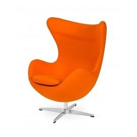 Fotel EGG CLASSIC marchewkowy.38 - wełna podstawa aluminiowa