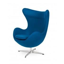 Fotel EGG CLASSIC marynarski niebieski.35 - wełna podstawa aluminiowa